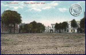 Die süd-westliche Ecke des ehem. Neuen Marktes, die alten Gerbereigrundstücke befanden sich hinter den Bäumen / Karte aus der Sammlung des Wojtek Szkudlarski