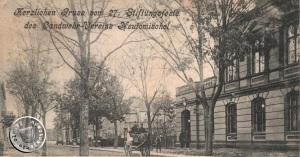 Budynek poczty. Piłsudskiego 4 Ze zbiorów Wojciecha Szkudlarskiego. Zdjęcie wykonano przed 1904 r.