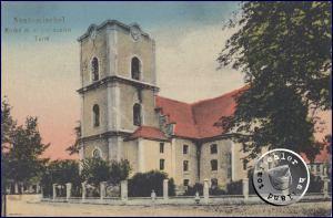 Die Kirche mit dem abgebranntem Turm - Ansichtskarte aus der Sammlung des Wojtek Szkudlarski