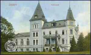 Brody, das ehemalige Schloss der Familie Pflug, erbaut 1892 - Postkartenausschnitt Sammlung A. Kraft