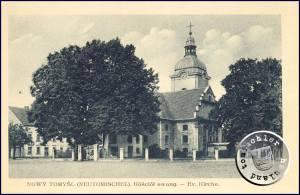 """Die Kirche mit ihrem neuem """"kompakter"""" gebauten Kirchturm - Ansichtskarte aus der Sammlung des Wojtek Szudlarski"""