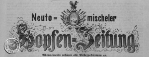 Nagłówek najstarszego egzemplarza nowotomyskiej gazety z 1877 r.