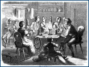 """""""Das festliche Jahr"""" - Eine Spinnstube - Bild: https://de.wikipedia.org/wiki/Spinnstube"""
