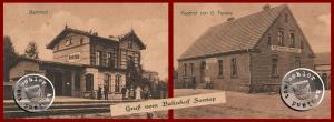 Bahnhof Sontop und Gasthof Fenske - Postkartenausschnitte