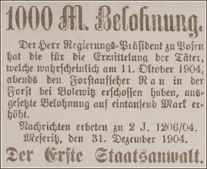 1.000 Mark Belohnung - für die Ermittlung der Täter / Veröffentl. in der Kreiszeitung