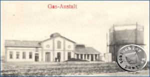 Das ehemalige Gaswerk kurz nach seiner Fertigstellung 1903 / Postkartenausschnitt