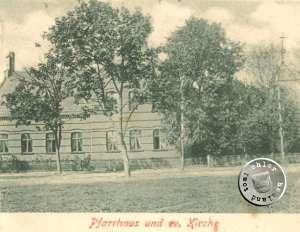 Pfarrhaus und die ehemalige, alte evgl. Kirche zu Bentschen / Postkartenausschnitt