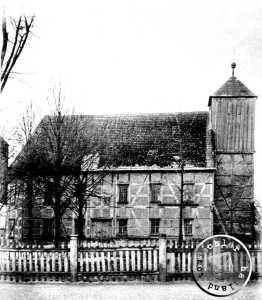 Der alte Kirchenbau um 1909 kurz vor dem Abbbruch / Bildausschnitt