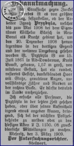 Suche nach dem Aufenthalt des Ignatz Przybyla - Kreisblatt Ausschnitt1908