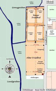 Lageplan des Alten und Neuen Friedhofsareals - Zeichnung angefertigt anhand von Archivunterlagen