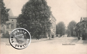 ... bogen nach der Bahnhofstraße in rasendem Tempo ab ... / Ansichtskarte Sammlung Wojtek Szkudlarski