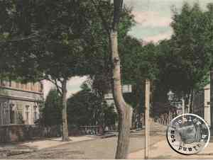 Blick vom Bahnhof kommend in die ehem. Bahnhofstraße / Kartenausschnitt Sammlung Wojtek Szkudlarski
