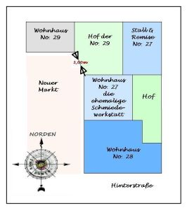 """Lageplan der Grundstücke, Zeichnung angefertigt nach der """"Beschreibung von Gebäuden ..."""" / GT"""