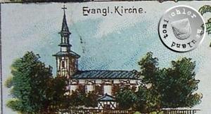 """Postkartenausschnitt der """"alten"""" ehemaligen evgl. Kirche zu Grätz"""