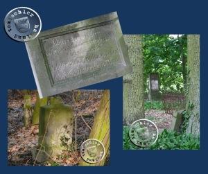 Links oben und rechts die Inschrift und der Grabstein der Brüder Schulz, welche 1885 verstarben (die Tafeln mit den Lebensdaten fehlen); links unten der Stein der Beate Schulz, geborene Noak / Bilder: Przemek Mierzejewski + Gudrun Tabbert