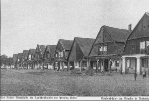"""Rakwitz, westl. Seite des Marktplatzes - Kohte """"Verzeichnis der Kunstdenkmäler der Provinz Posen"""""""