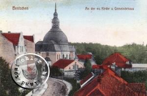 """Bentschen - die ehemalige evgl. Kirche und das Gemeindehaus / Abb. """"Zbąszyń na dawnej pocztówce"""""""
