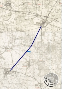 Die Chaussee von Pinne nach Neustadt, ca. 9 km, ein Fußweg von annähernd 2 Stunden / Messtischblätter http://mapy.amzp.pl/tk25.cgi?23,48,60,80