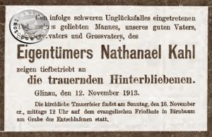 Totenanzeige vom 12. November 1913 im Kreisblatt Neutomischel
