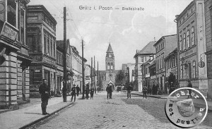 """Grätz, Breite Strasse mit Blick auf die """"neue"""" ehem. evangelische Kirche / Ausschnitt Ansichtskarte"""