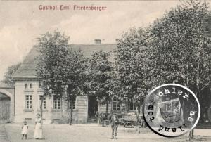 Ehemaliger Gasthof Friedenberger zu Boruy / Postkartenausschnitt  Sammlung Wojtek Szkudlarski