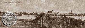 Pinne / Pniewy - Ansicht von der Seeseite - Bild: Postkartenausschnitt