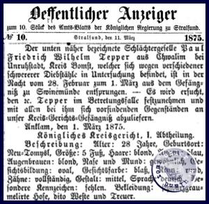 Der Steckbrief aus dem Jahr 1875