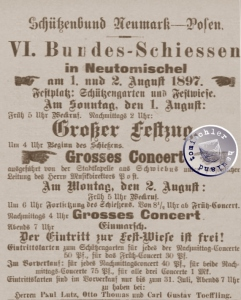 VI. Bundes-Schiessen in Neutomischel 1897 / Zeitungsanzeige
