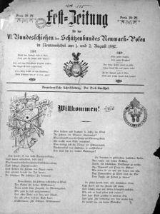 """Titelseite: """"Fest-Zeitung für das VI Bundesschiessen der Schützenbund Neumark-in Posen Neutomischel am 1. und 2. August 1897 """" - In  Sammlungen der Universitätsbibliothek in Poznan"""