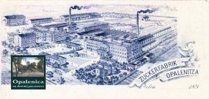 """Opalenitza Zuckerfabrik – Bild: """"Opalenica na dawnej pocztówce"""" S.33 Öffentliche Stadt- und Kreisbibliothek"""