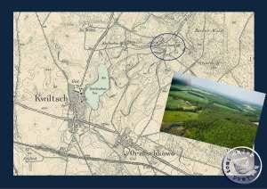 Leschnik Mühle lag in einem großem Waldgebiet - Ausschnitt Meßtischblatt 3462 und Luftaufnahme der Gemeinde Kwilcz / http://www.kwilcz.pl