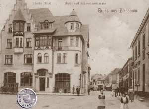 Blick vom Markt in die ehem. Schweriner Straße in Birnbaum / Bild Sammlung Kraft