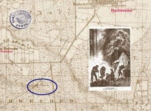 Theerofen im Bolewicer Forst / Quelle: 3) Ausschnitt Messtischblatt und 4) als Beispiel die Zeichnung einer Köhlerei