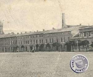 Ansicht des Gebäudes der Maennel'schen Dampfmühle mit dem Pappdach / Ausschnitt AK Sammlung Wojtek Szkudlarski