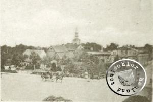 Stadtansicht Grätz - im Vordergrund der alte Stadtpark, im Hintergrund die alte evgl. Kirche / AK-Ausschnitt Sammlung Kraft