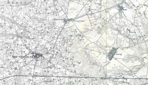 10. Fragment, mapa niemiecka tzw. Masstischblatt. Arkusz nr 3662 Neutomischel, nowy Tomyśl z roku 1891, Arkusz nr 3663 Wonsowo, Wąsowo z roku 1892, w skali 1: 25 000.